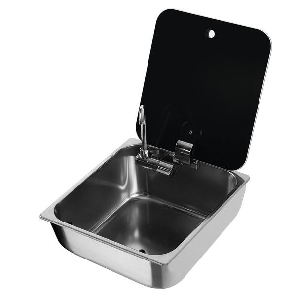 Sink firkantet rustfrit stål med glasdæksel