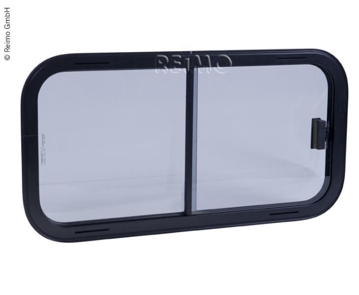 Sicherheitsglas Schiebefenster, Rahmen schwarz, 600x250mm