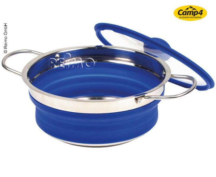 Silicone pot, foldable, 20x30x3,5/8,5cm, blue