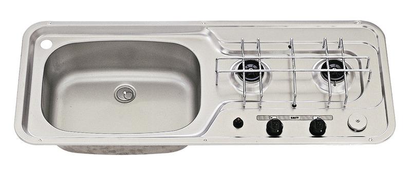 spoelbak/kooktoestel 800x320 2-voudige roestvrij stalen piëzobak links 30mbar