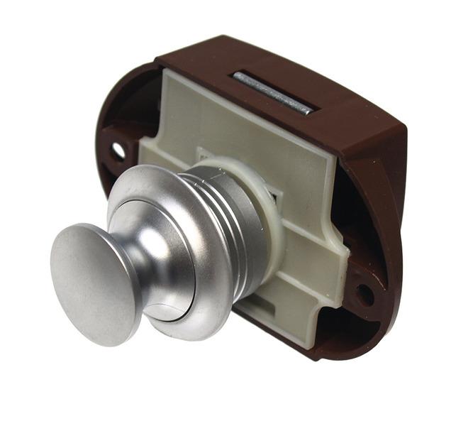 Furniture lock Push Lock silver, one-sided operation