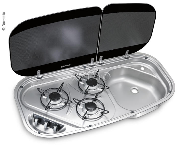 Sink/cooker combination 3-flame 840x436 mm, stainless steel 30mbar, HSG3436