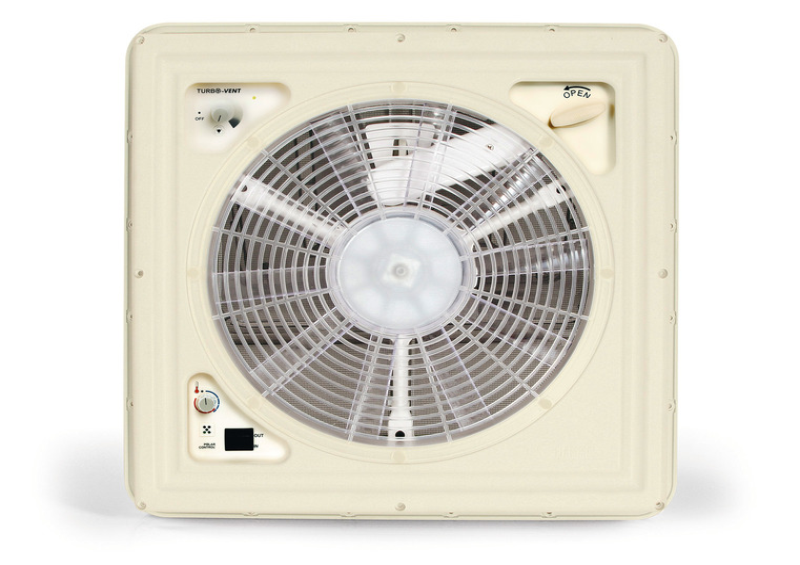 Trækdæksel med 12 volt ventilator + termostat 40x40cm