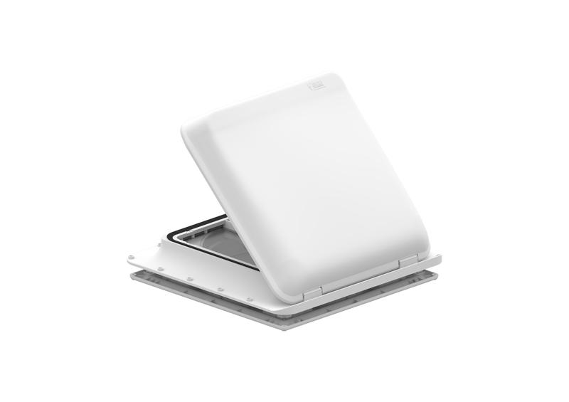Hotte de toit à manivelle avec ventilateur 12 volts + thermostat 40x40cm