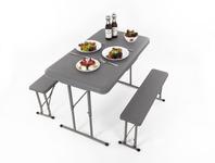 Garnitur EASY - Tisch 105x65cm u. 2 Bänke 84,5x20cm, grau