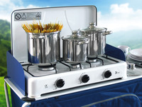 Camping pot set w. glass lids, stainless steel