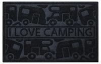 Dørmåtte KERA KAMP 40x60cm, sort, PP / gummi, motiv: campingvogn / campingvogn