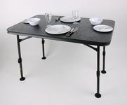 Leirintäpöytä CALAIS STONE 115x70x55-74cm, runko: musta
