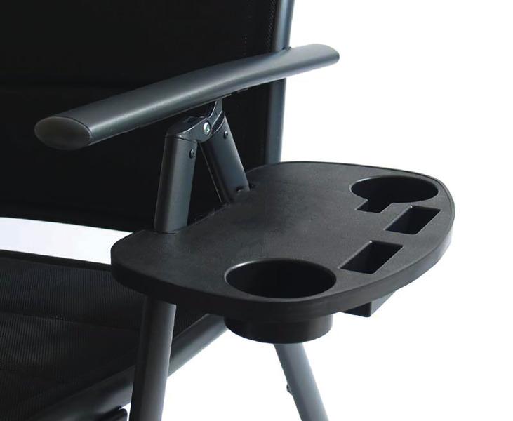 Seitentisch für Campingstuhl, schwarz, mit 4 Fächern
