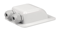 Kabelbøsning hvid, dobbelt, inkl. Kabelforskruning