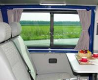 VW T6/5 lang model gardinsæt gråt, lys-gennemtrængeligt