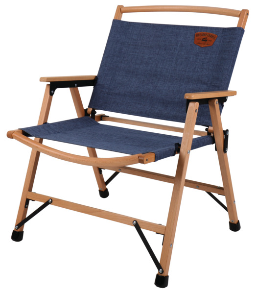 Camping chair HOLIDAY TRAVEL, wood frame, blue mottled