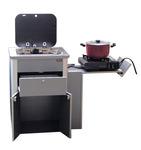 Multivan pantry keuken, geprefabriceerde eenheid met spoelbak, glazen deksel en