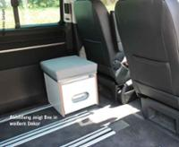 Porta-Potti-Box mit HPL Schichtstoff Anthrazit mit Polsterauflage in grau