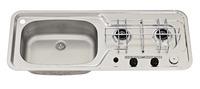 Sink / komfur 800x320 2-flamme rustfrit stål piezo bassin venstre 30mbar
