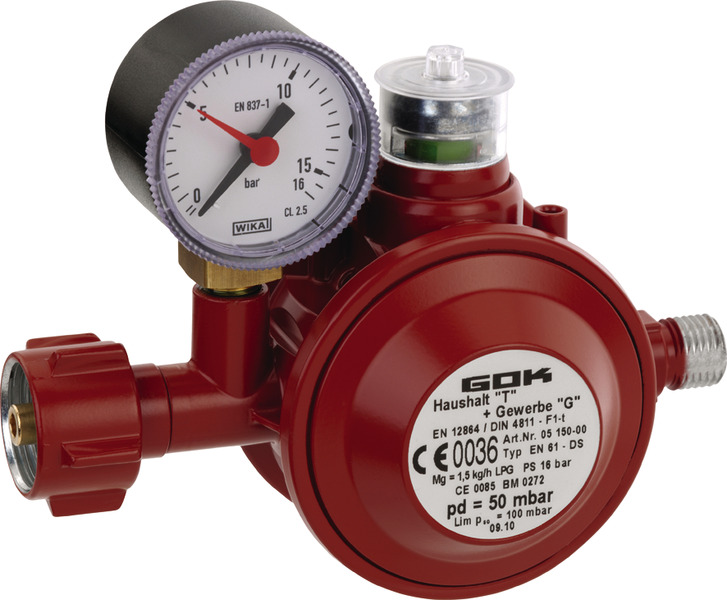 Gas pressure controller 50mbar with thermic cut-off