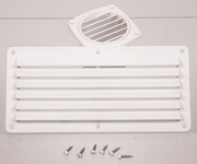 Ventilation grille, white, 264x127mm, angular, incl. screws