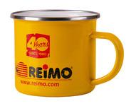 Emaille-Becher REIMO 40 JAHRE H8cm Ø8,5cm 350ml, gelb