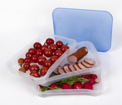 Barattoli per conservare e affettare barattoli 3 set, trasparente/blu