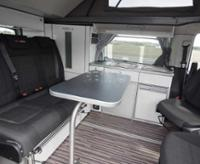 Multifunctional table system for Mercedes Vito long with silver edge
