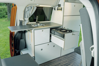 Caddy LR furniture line including coolbox, sink, AGM battery and electrical syst