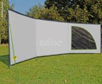 Ameland Space Luxus- windbescherming in grijs/lime, 6 x 1,4m