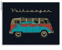VW Collection Fleecedecke BUS+KÄFER, schwarz, 150x200cm