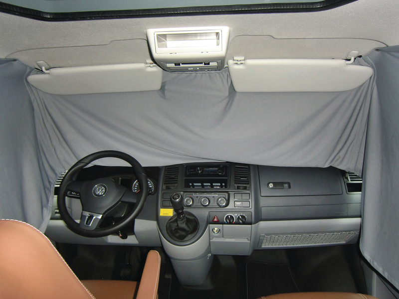 VW T5 driver's cab visual protection curtain grey, one piece from model year 200