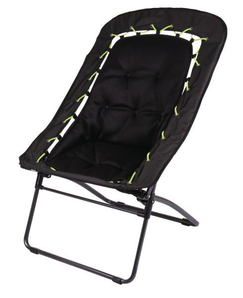 Sammenfoldelig stol BUNGEE 81x71x99cm inkl. 2 strings (lime, sort), op til 120kg