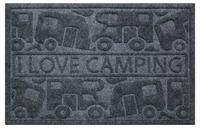 Dørmåtte KERA KAMP 40x60cm, grå, PP / gummi, motiv: campingvogn / campingvogn