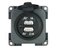 USB dobbelt opladningsstik 5V / 1A + 2,1A