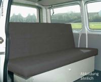 Sovebænk VW T4 Familiebrede 3-seter Weekender stof Classic grå, uhindret.