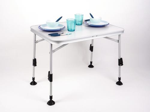 Folding Camping Table, FLORENZ, 80x60x70cm, light grey, alu frame