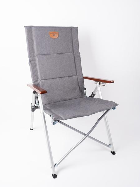 Chaise pliante HOLIDAY TRAVEL, rembourrée, gris chiné, accoudoir en bois