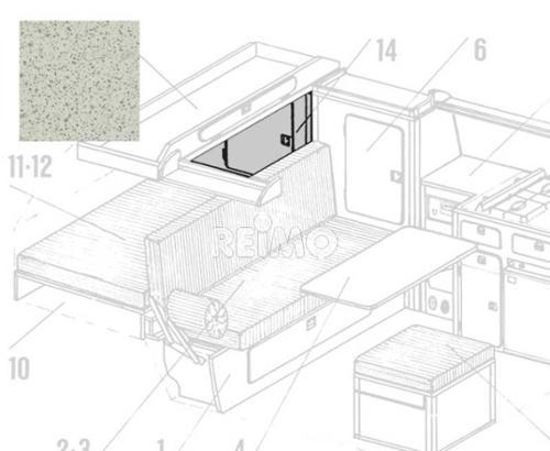 VW T3 Heckwäscheschrank mit Einlegeboden Granitto Schichtstoff als Bausatz