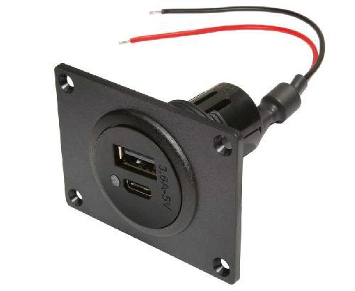 Virta USB-C / kaksinkertainen pistorasia asennuslevyllä, 12–24 V DC