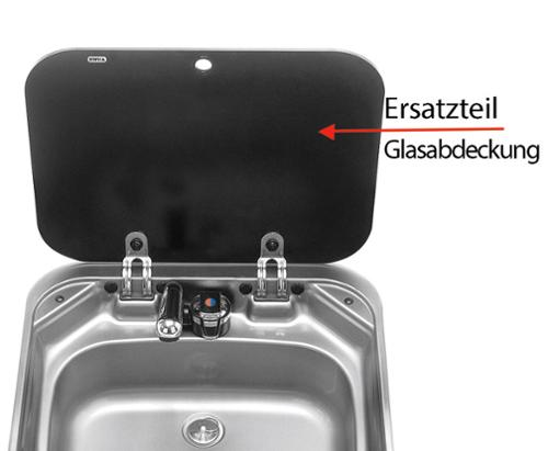 Ersatzteil Glasabdeckung in schwarz für SMEV Edelstahlspüle 8005