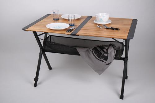 Table en bambou avec filet, table à roulettes, cadre en aluminium foncé