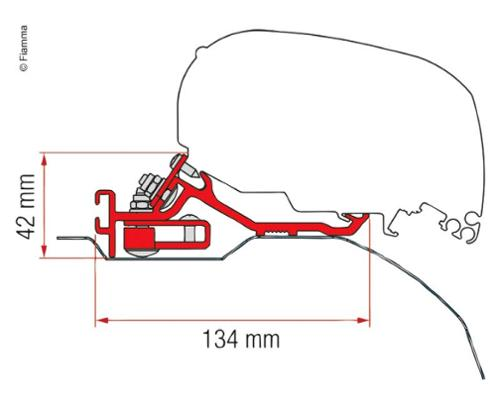Adapter awning F65L and F80S for Fiat Ducato, Peugeot Boxer, Citroën Jumper