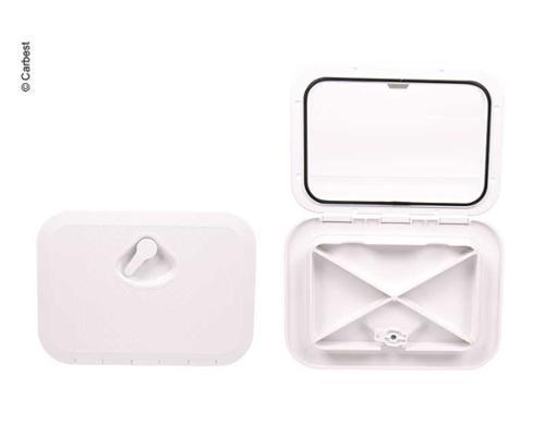 Revisionsklappe mit Verriegelung weiß, 2 Verschlussriegel 606x353mm