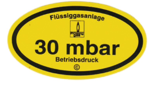 Sticker operating pressure 30mbar 95 x 53 mm