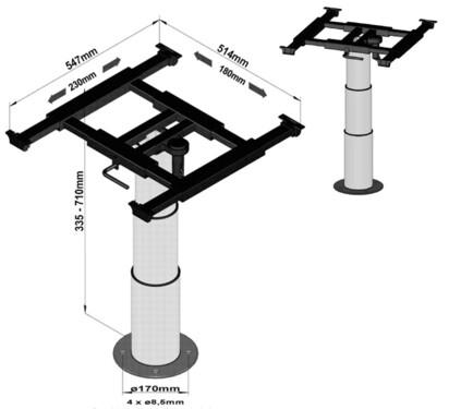 Einsäulen-Liftgestell, Verschiebung X=180mm,Y=230mm