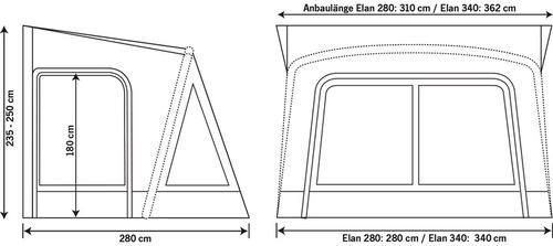 Wohnwagenvorzelt aufblasbar ELAN 280