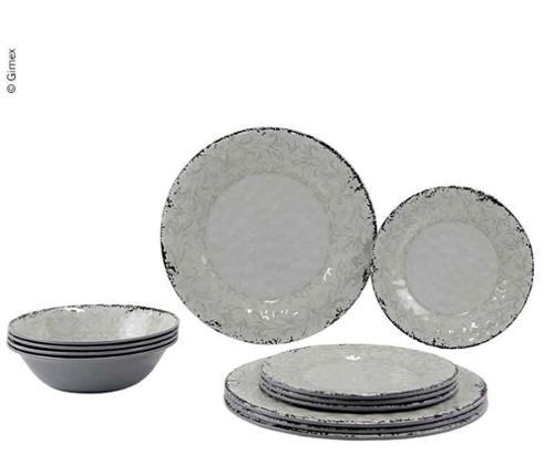 Melamin Geschirr-Set Stone Sand,12teilig, für 4 Personen, Teller+Schüssel