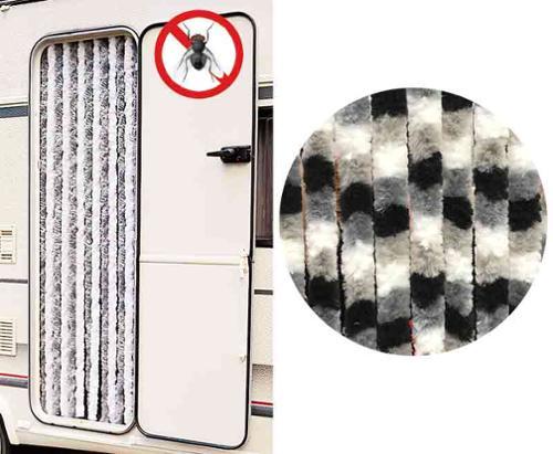 Rideau polaire 56x185 blanc/gris/noir pour camping-cars et caravanes