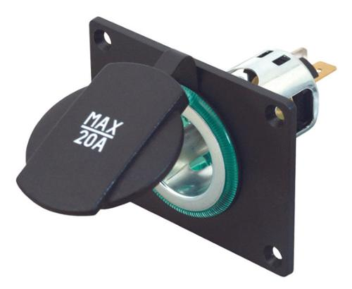 Power socket with mounting plate up to 20 Amp.