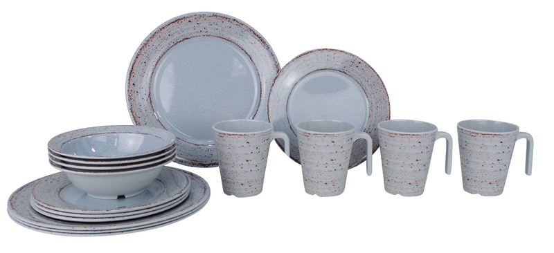 Melamine Tableware (Set of 16Pcs) CASA GREY