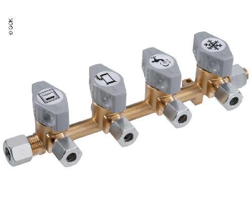 4-vägs snabbstängningsventil för 10mm inlopp & amp; 8mm uttag
