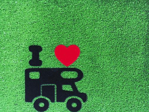 Doormat GREEN FLOCK motorhome 40x60cm, green, PP/rubber