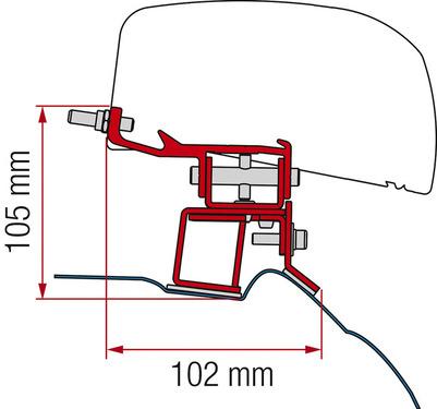 Adapter für Dachmarkise F40van Mercedes V-Klasse ab 2014